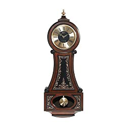 Seth Thomas Strathmoor Gold Tone and Black Dial with Antiqued Brown Maple Finish with Chime Pendulum Wall Clock