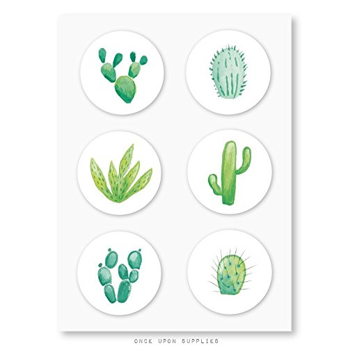 Cacti Collection Stickers Envelope Seals Cupcake Toppers by Once Upon Supplies, 6 Cactus Designs with Adhesive Backing, for Party Favors and Decoration, 1.5, 30 Stickers