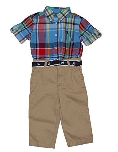 Ralph Lauren Baby Boys Plaid Shirt & Chino Pant with Belt Set (3 Months)