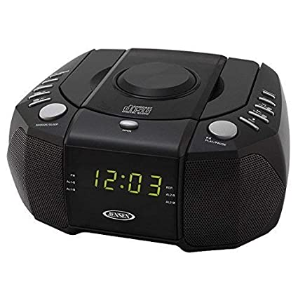 Jensen Dual Alarm Clock Radio with Top-Loading CD Player & Large Easy to Read Backlit Display Plus 6ft Aux Cable to Connect Any Ipod, Iphone or Mp3 ...
