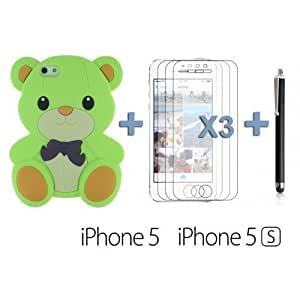 OnlineBestDigital - Dog Style Soft Silicone Case for Apple iPhone 5S / Apple iPhone 5 - Lightgreen with 3 Screen Protectors and Stylus