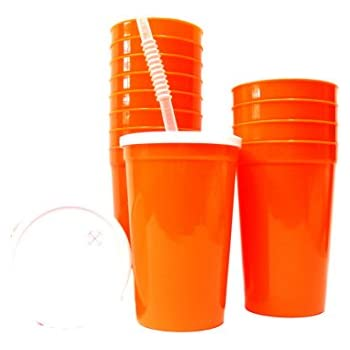 talisman large 20 ounce plastic drinking glasses lids and straws 14 pack orange