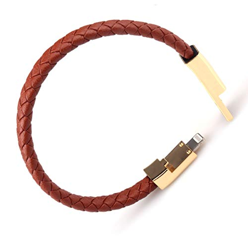 Valentine's Day Gifts USB Leather Charging Bracelets Portable Braided Wrist Band Bracelet Cable Data Charger Cord for iPhone(Gold Metal+ Brown Leather)