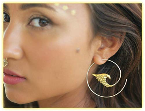 Cocoroots Women Tribal Carved Brass Earring Angel Wing Spiral Brass or Silver Hoops