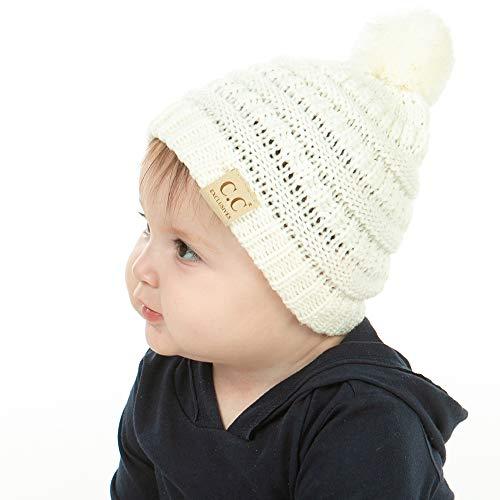 EK27-847BABYPOM-25 Beanie Infant Baby Skull Cap Hat (POM) - Ivory