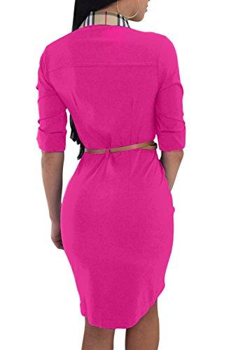 Cou Bouton Bodycon Rosy Polo De cossais Femmes Le Robes Imprimes Chemise Les x7TEwpYpq