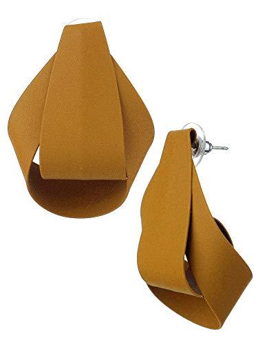 Women's Geometric Rounded Metal Curled Pierced Earrings, Matte Mustard ()