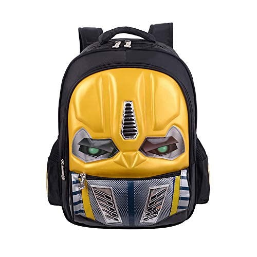 Waterproof Kindergarten Child Book Bag Durable Boy School Bags for Kid Girl Elementary Student Backpack Bookbags for Children (Transformers Yellow, Large) (Wheels Pocket Bones)