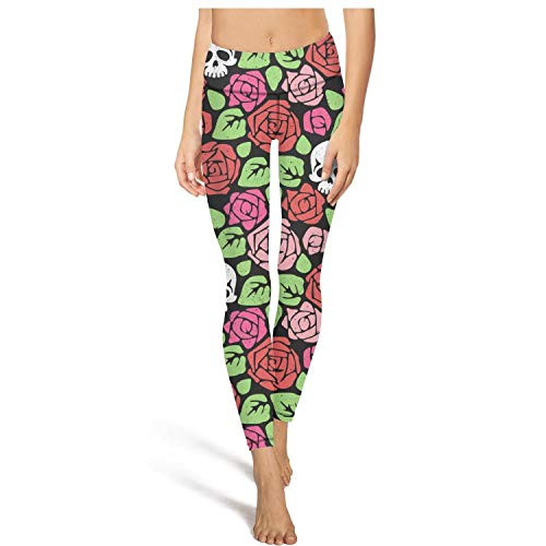 Capris Green Stone (PLOKINC Flare Yoga Pants for Womens Workout Capris Green red Pink Flowers and White Skull High Waist Tights for Girls)