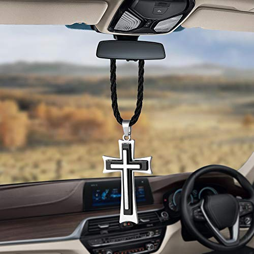 BEMOST Car Pendant Charms Cross Rear View Mirror Decorations Hanging Decor Ornaments car Accessories (Silver)