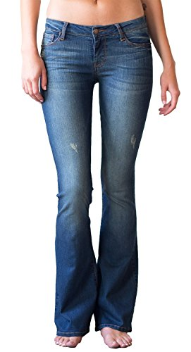 Mia & Moss Women's Mid-Rise Flare Bell Bottom Jean (26, Blue-Grey Distressed) (Womens Jeans Flare Leg)