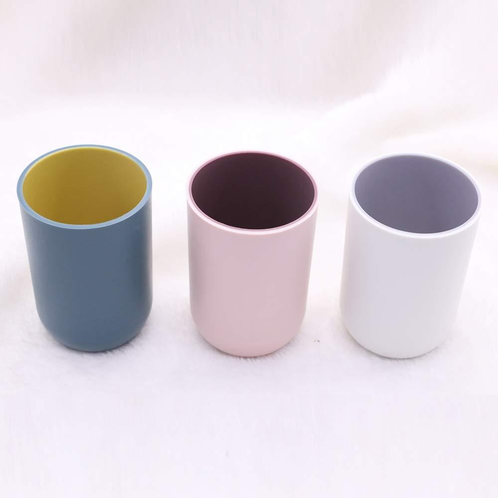light gray 3PCS Tumbler Cup Plastic for Bathroom Vanity countertop Drinking mouthwash rinsing Water Toothbrush (Dark blue light pink)