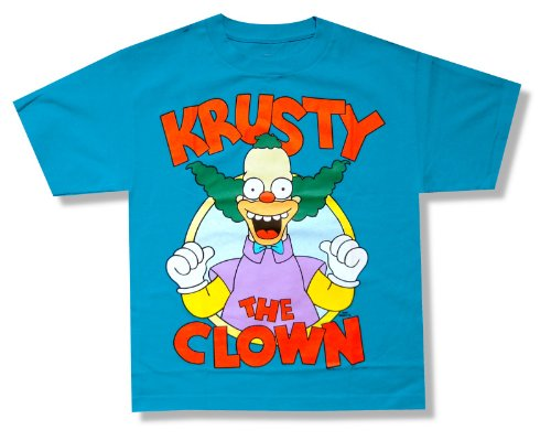 "Bioworld Youth The Simpsons ""Krusty the Clown"" Aqua Blue T-S"