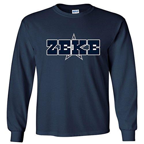 "LONG SLEEVE Navy Zeke Dallas ""ZEKE LOGO"" T-Shirt ADULT LARGE"