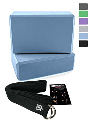 "2 Yoga Blocks and Strap Set - Foam Bricks 9""x6""x4"" and 8FT Yoga Belt with Metal D-Ring - High Density Eco-Friendly Premium Quality (blue)"