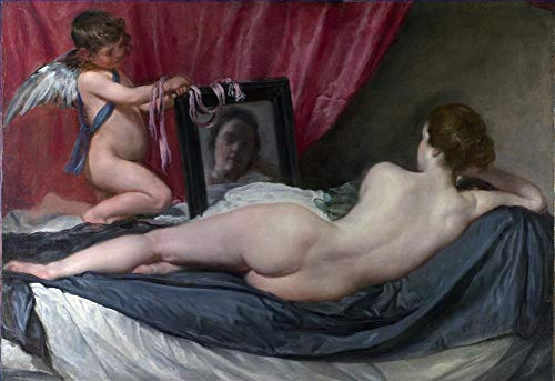 Oil Painting Mirror - $50-$4000 Custom Made - Hand Painted Art Paintings by College Teachers - Diego Velozquez Venus at her Mirror Oil Painting Reproduction - Wall Decor Canvas Old Famous Works -Large Size15