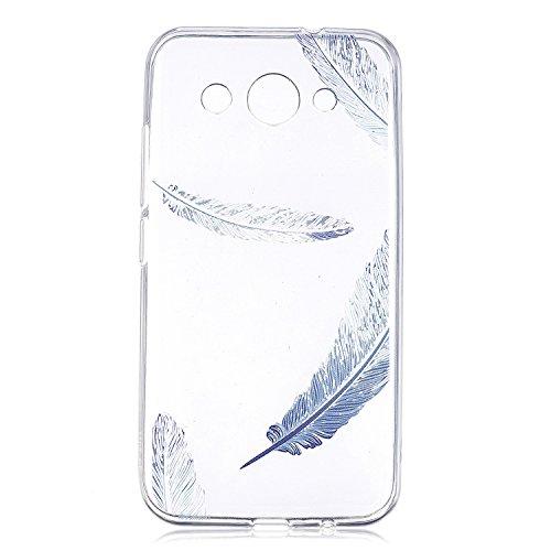 Huawei Y3 2017 Hülle Case, Cozy Hut® [Liquid Crystal] Ultra Dünn [Crystal Case] Transparent Soft-Flex Handyhülle / Bumper-Style Premium-TPU Silikon / Perfekte Passform / Kratzfest Schutzhülle für Huaw Blaue Federn