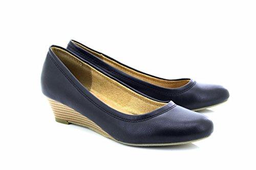 Boulevard Nina Evening Formal Plain Wedge Court Shoes Black Pu