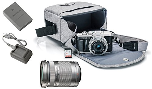 Olympus Pen E-PL9 Mirrorless Micro Four Thirds Digital Camera [Black] + M.Zuiko Digital ED 14-42mm f/3.5-5.6 EZ Lens (Silver) + M.Zuiko Digital ED 40-150mm f/4.0-5.6 R Lens (Silver)