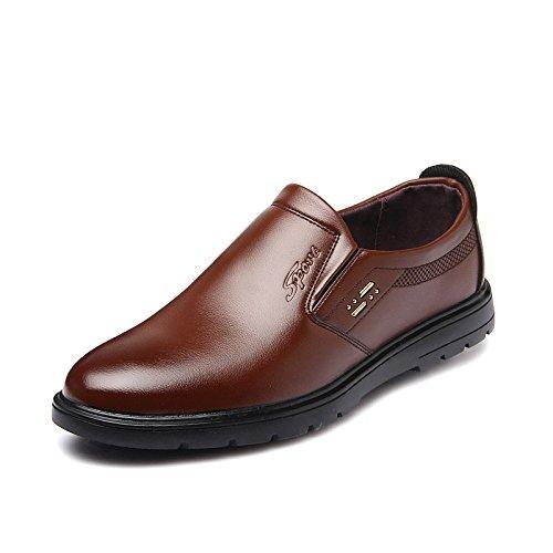 WZG zapatos de vestir de negocio de los nuevos hombres de la caída del pie establecer perezosos zapatos casuales de los hombres británicos, zapatos de trabajo Brown