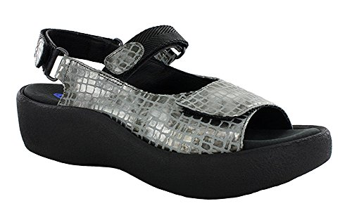 Womens Sandals Leather Jewel 3204 Croco Gray Wolky FqT0w