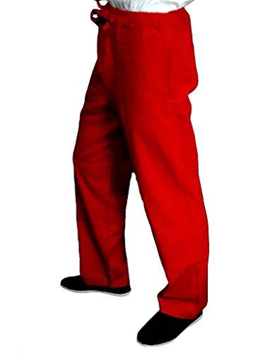 De Xs Pantalones A Tai Fu xl Medida Artes Rojo Chi Lino Hecho Fino Marciales Kung 115 O tvqBUw