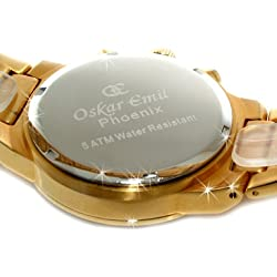 Oskar Emil Mens Phoenix 18ct Gold Plated Chronograph Watch with Black Dial