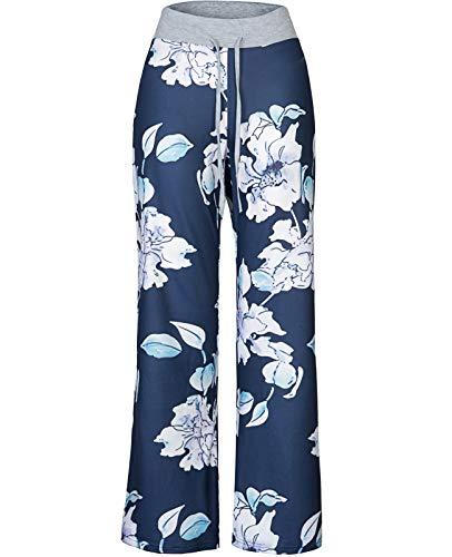 Anyou Women Elastic Waist Floral Printed Pajama Pants with Drawstring Size Large