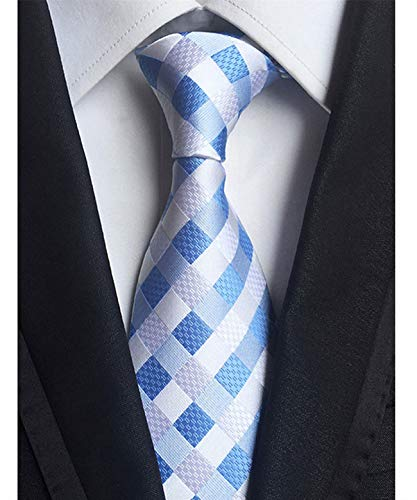 Eneston Men's Classic Checks Light Blue Jacquard Woven Silk Tie Necktie Checkered Silk Necktie Tie
