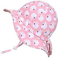 幼児用 50+ UPF 日光予防帽子 Sun hat、 サイズの調整可能、チン・ストラップ付き(M: 6-36ヶ月, ピンクのリンゴ)