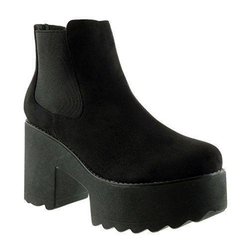 high chelsea 9 heel Booty boots Ankle Women's CM boots Block biker platform Angkorly Black Shoes Fashion xCqgRwPf
