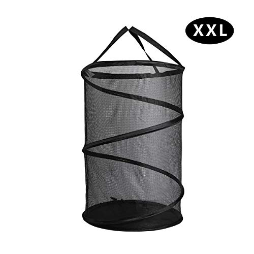 GANAMODA Collapsible Spiral Pop-up Mesh Hamper - Thicken to Avert Fissuration,Reinforced Carry Handles and Nylon Bottomand,for The Occasions of Home,Laundry Room,Travel,ect.Black (XXL)