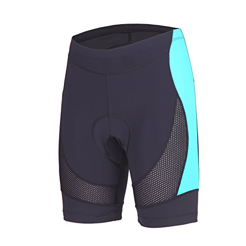 Beroy Womens Bike Shorts with 3D Gel Padded,CYCLING WOMEN'S SHORTS with MeshX-LargeDark Blue
