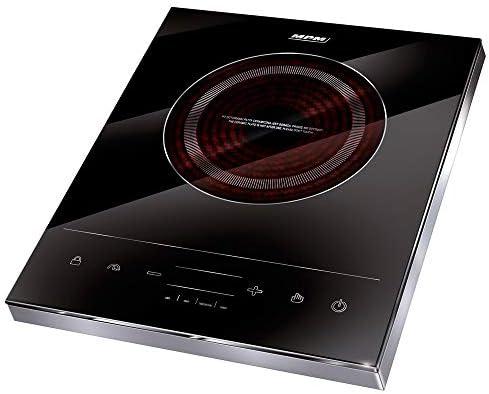 Mpm MKE-06 Placa de Inducción Portátil, superficie de cristal, Control Táctil, 10 niveles de Potencia, Temporizador, Programable, 1800 W, Negro