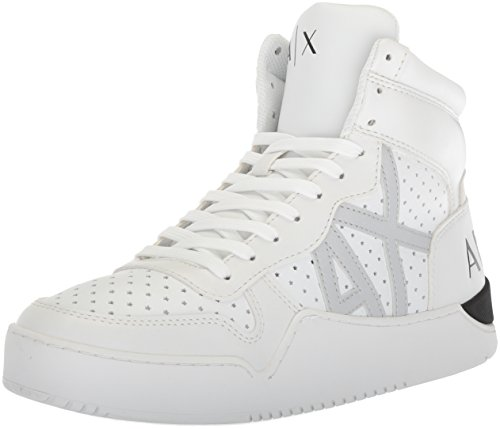 A|X Armani Exchange Men's High Top Perforated Lace up Sneaker, White, 9 Medium US by A|X Armani Exchange