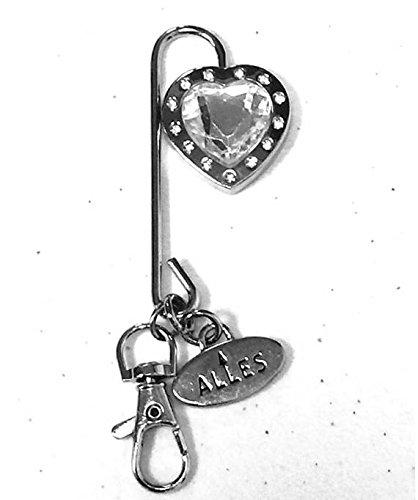 Keychain Purse Hook (Purse Hook Key Finder Key Chain Silver Heart Shaped Jewel Charm)