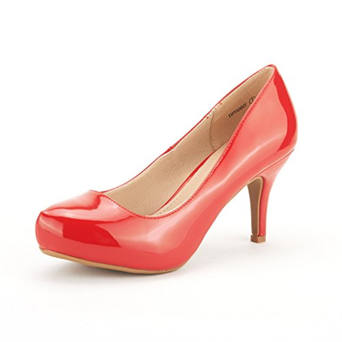 DREAM PAIRS Tiffany Women's New Classic Elegant Versatile Low Stiletto Heel Dress Platform Pumps Shoes Red-Patent Size 9.5