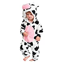 Abolai Unisex-Baby Flannel Onesie Winter Romper Animal Pajamas Jumpsuit Outfits Kids Cow 100