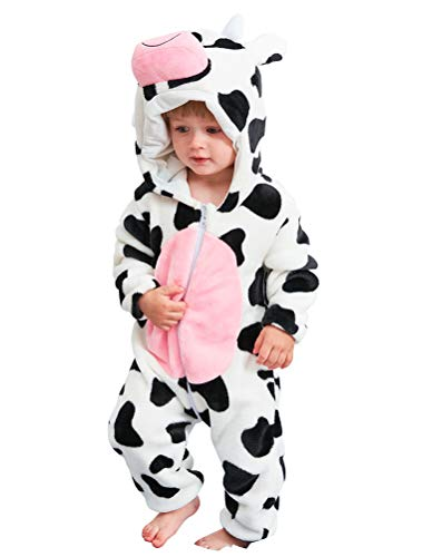 Abolai Unisex-Baby Flannel Onesie Winter Romper Animal Pajamas Jumpsuit Outfits Kids Cow 100 -