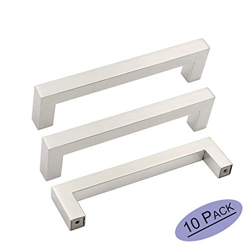 10Pack Brushed Nickel Square Bar Cabinet Pull Drawer Handle Stainless Steel Modern Hardware for Kitchen and Bathroom Cabinets Cupboard, Center to Center 5in(128mm)