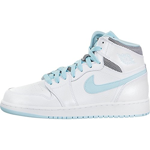 Jordan Nike Kids Air 1 Retro High GG White/White Still Blue Basketball Shoe 4.5 Kids US by Jordan