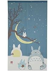 Studio Ghibli Totoro Noren Curtain Tapestry Winter Sky and Crescent Moon