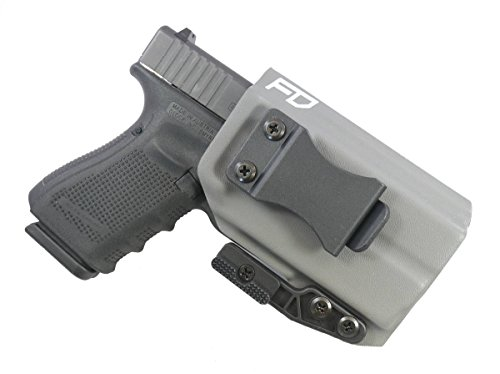Fierce Defender IWB Kydex Holster Glock 19 23 32 w/Olight PL-Mini Valkyrie The Paladin Series -Made in USA- GEN 5 Compatible (Gunmetal Grey)