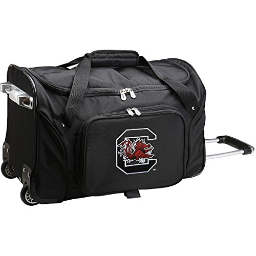 (NCAA South Carolina Fighting Gamecocks Wheeled Duffle Bag, 22 x 12 x 5.5, Black)