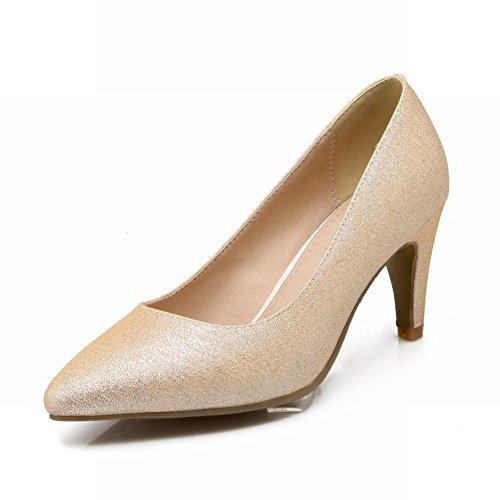 Carol Chaussures Chic Femmes Brillant Pointu-toe Charmante Soirée De Danse Talon Moyen Robe Pompes Chaussures Or