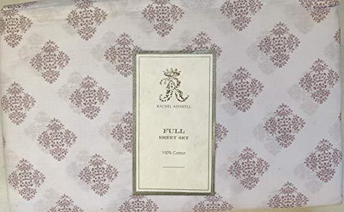 Rachel Ashwell Simply Shabby Chic White Pink Mauve Medallion Cotton Sheet Set (Full) (Ashwell Rachel Sheets)