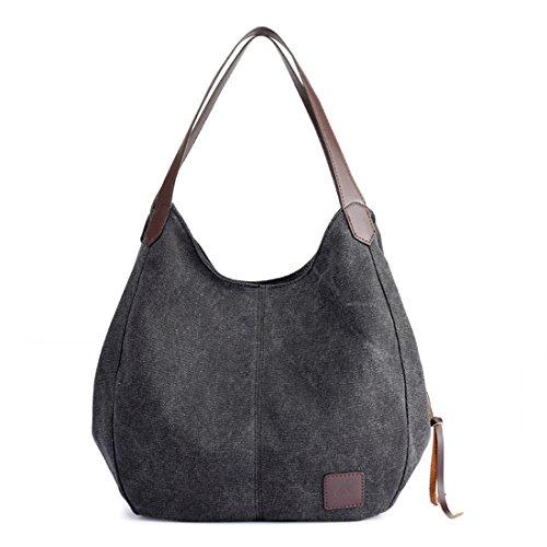 Small Pocket Hobo (Qyoubi Women's Canvas Multi-pocket Casual Shoulder Shopping Handbags Totes Purse Hobo Bag Black)