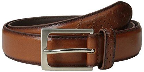 Florsheim Men's 32 mm Full Grain Leather Wingtip Belt, Saddle Tan, 42