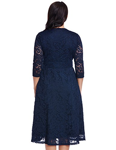 Women's Lace Plus Size Mother of the Bride Skater Dress Bridal Wedding Party Navy 16W