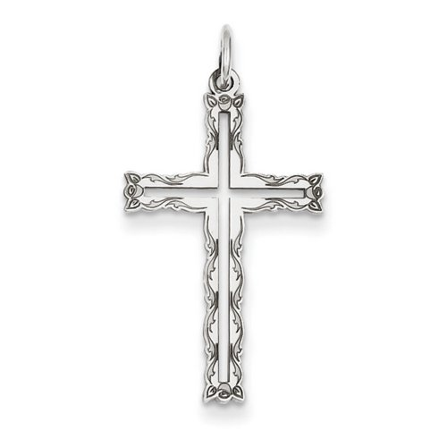 Icecarats Créatrice De Bijoux 14K Laser Or Blanc Conçu Pendentif Croix
